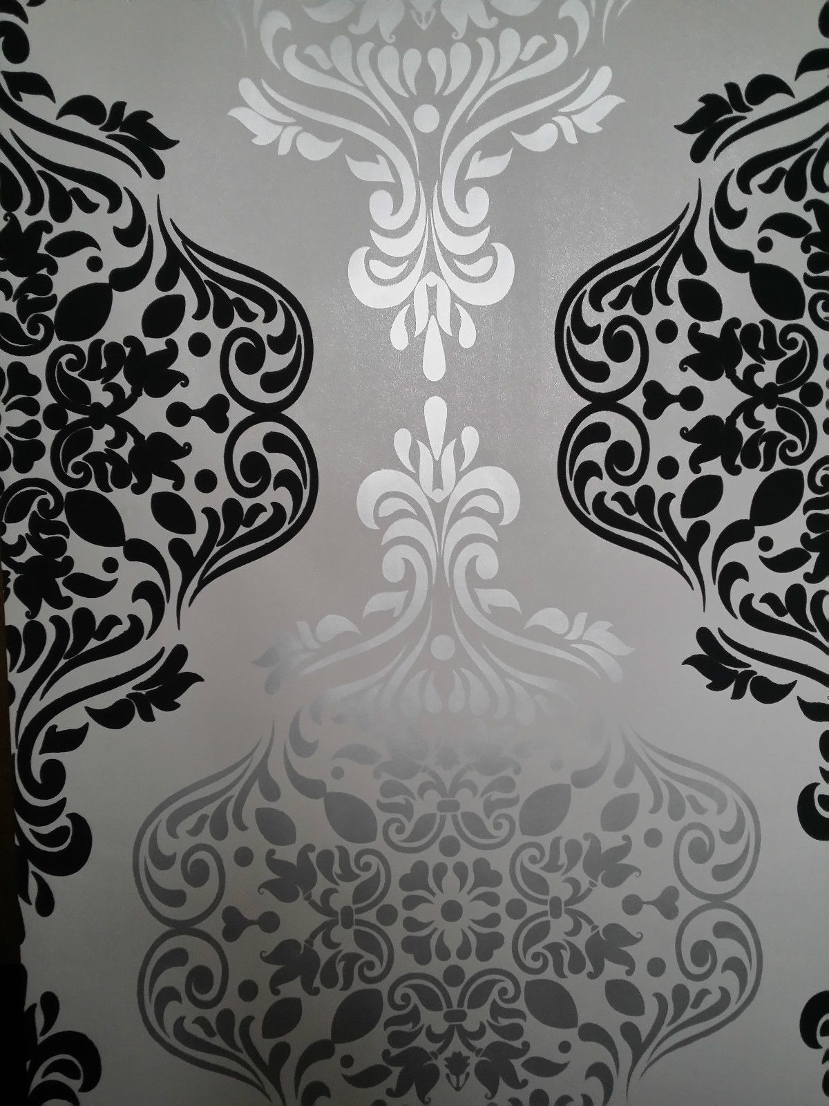 Black And White Damask Wall Art Pertaining To Well Known Luxury Wallpaper Light Gold & Dark Grey Damask Feature Wall (View 6 of 15)