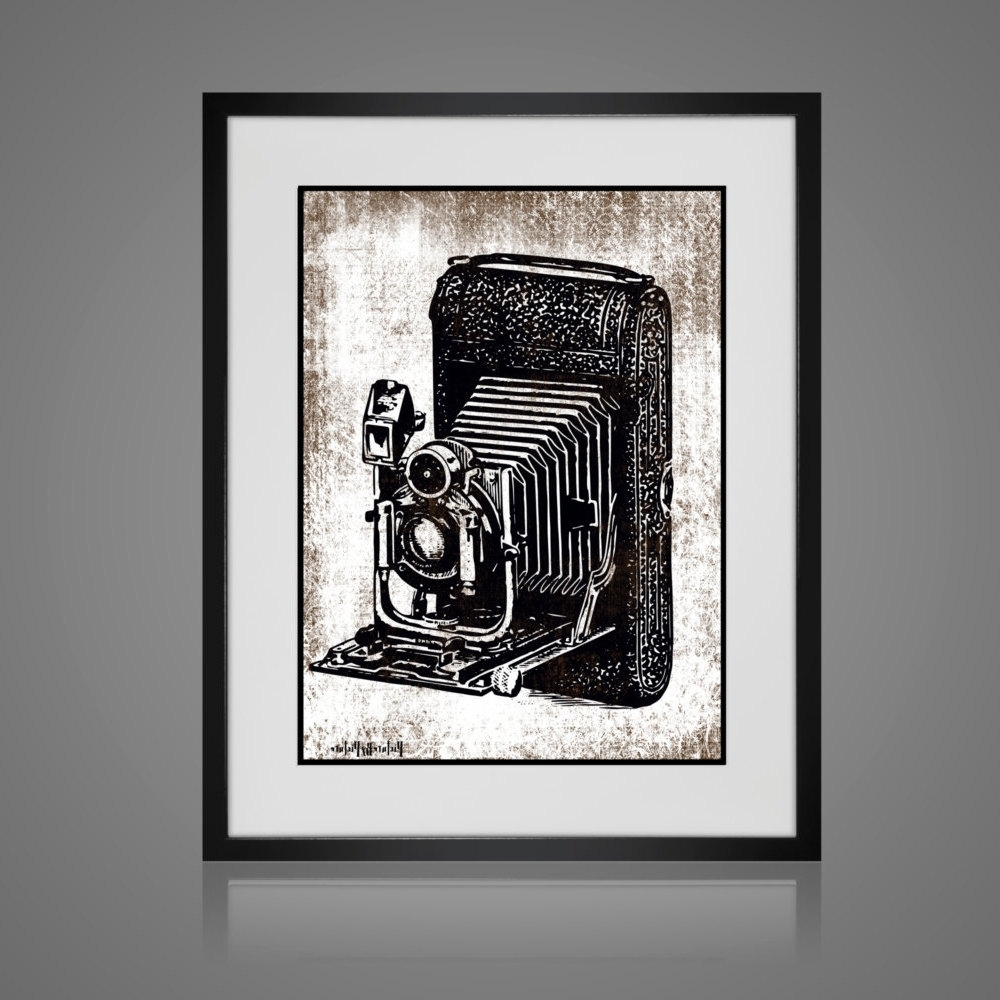 Black And White Framed Wall Art Pertaining To Most Up To Date Framed Wall Art – Free Shipping – Vintage Camera Print – Wall Art (View 7 of 15)