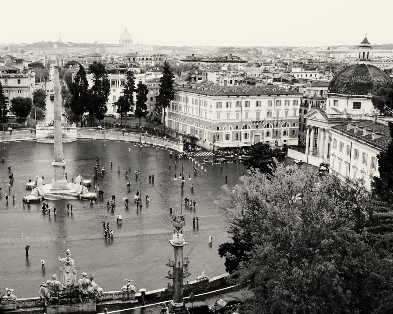Black And White Italian Wall Art With Regard To Recent Rome Italy Photography – Piazza Del Popolo Photo – Black And White (View 6 of 15)