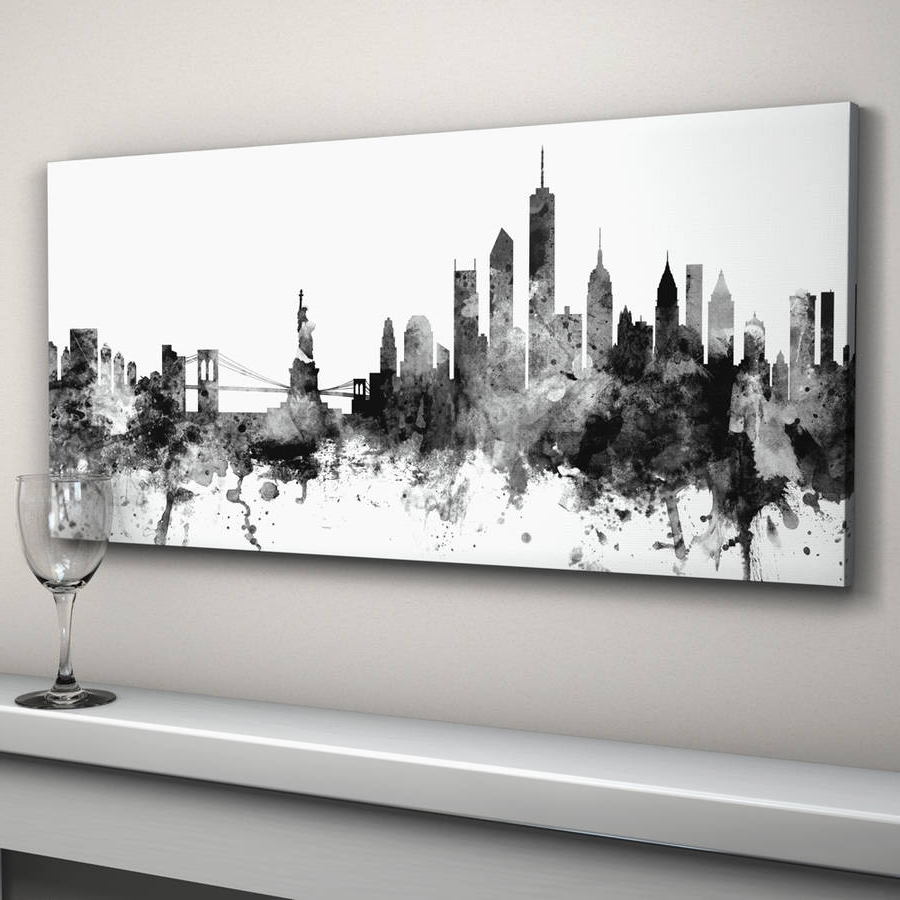 Black And White New York Canvas Wall Art With Fashionable New York Skyline Cityscape Black And Whiteartpause (View 5 of 15)