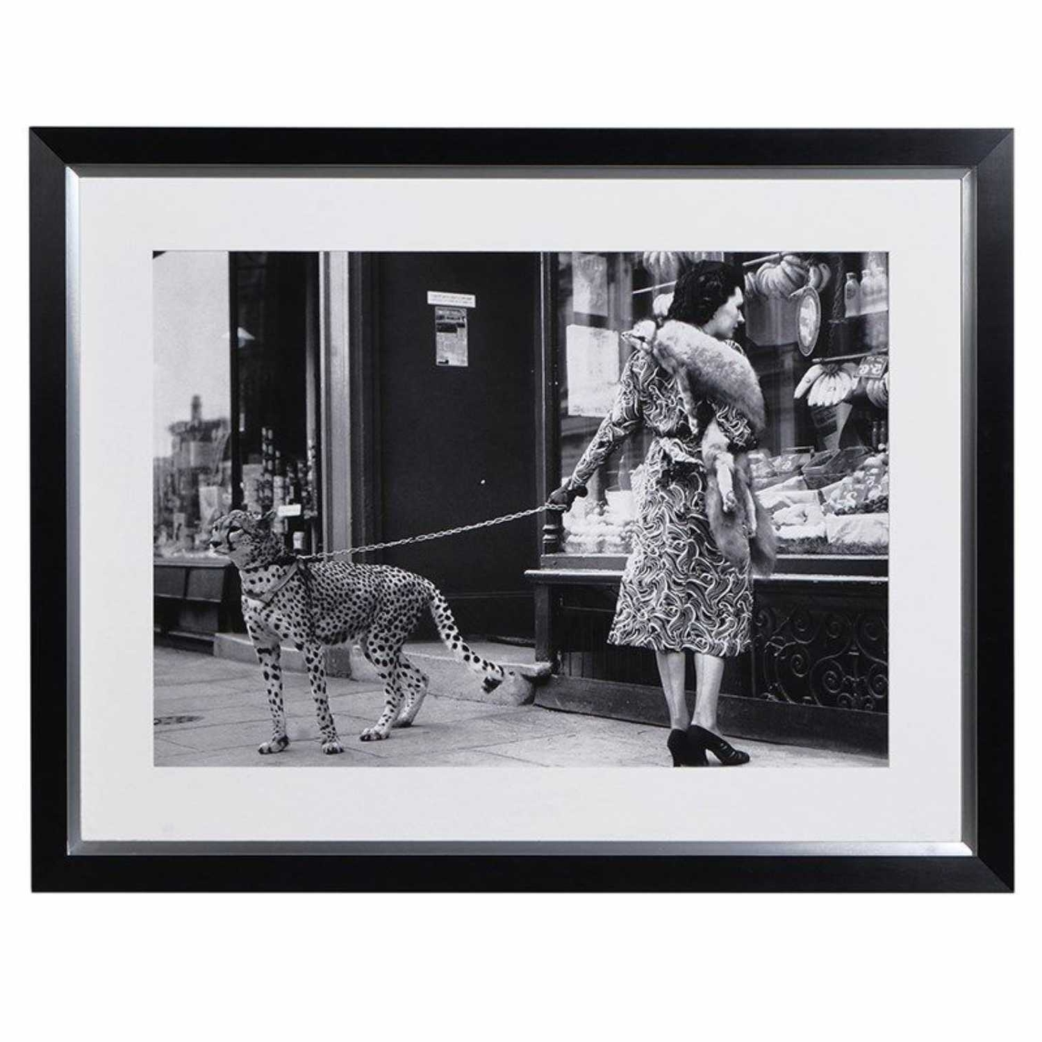 Black And White Wall Art Throughout Recent Lady With Leopard On A Leash Photo Large Modern Black White Wall Art (View 7 of 15)