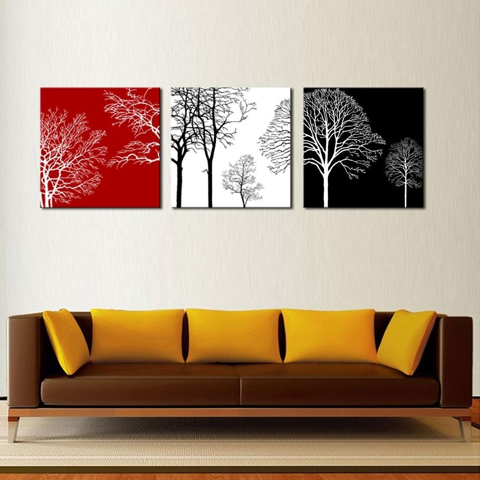 Black And White Wall Art With Red For Most Current 2018 3 Picture Combination Canvas Painting Wall Art Black White (View 6 of 15)