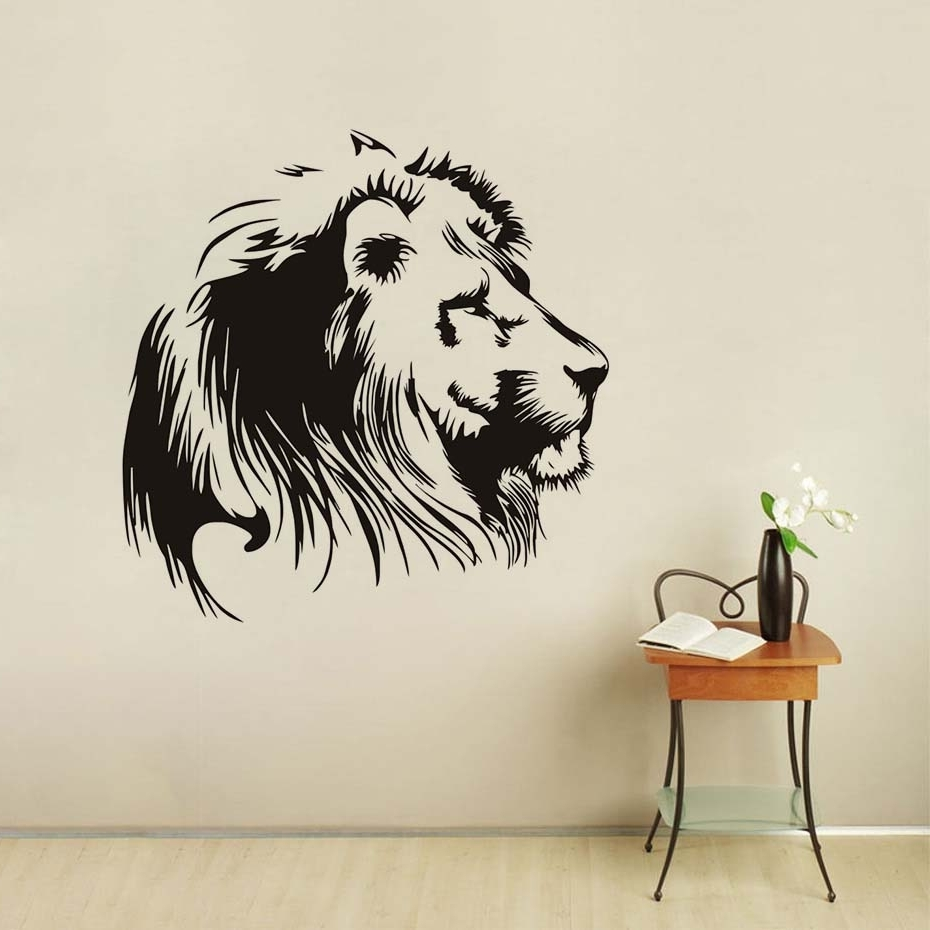 Black Head Of Lion Vinyl Wall Sticker For Kids Room Wall Art Decal Inside  Famous Lion
