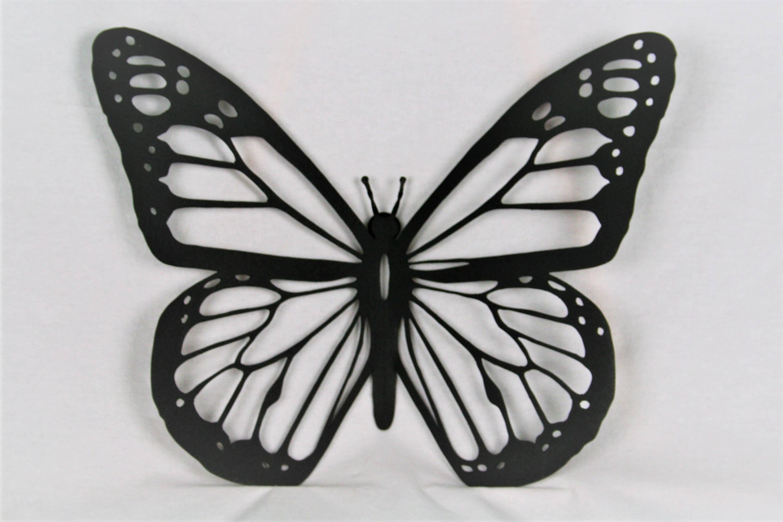 Black Metal Monarch, Butterfly Wall Art, Metal Butterfly, Monarch For Latest White Metal Butterfly Wall Art (View 2 of 15)