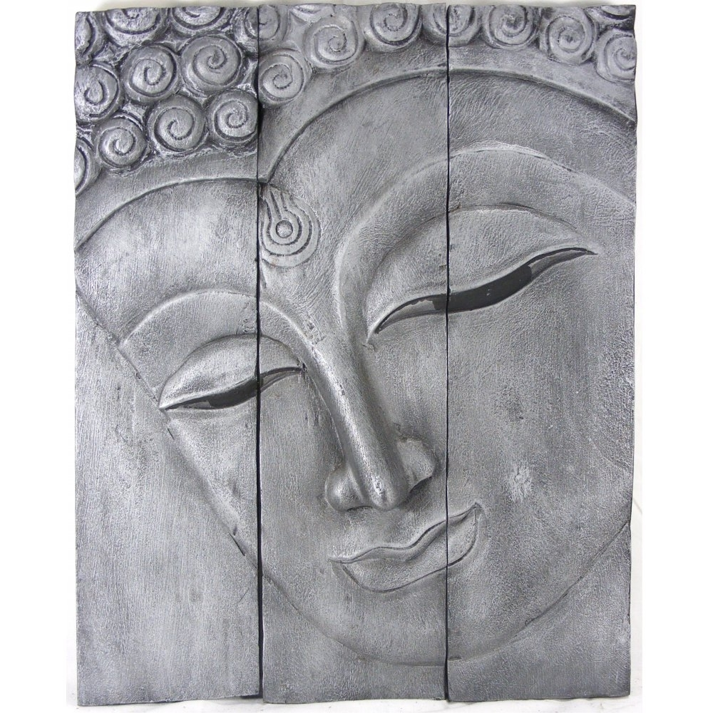 Black Silver Wall Art In Newest Old Silver Buddha Face Wall Art (View 3 of 15)