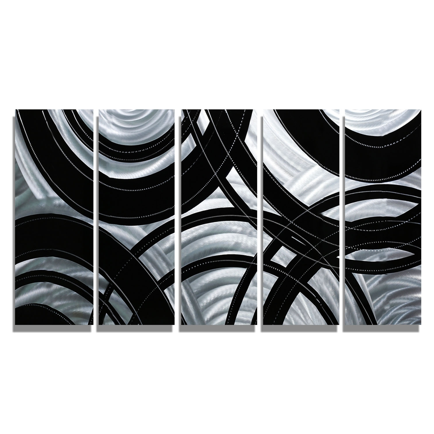Black Silver Wall Art In Newest Synergy – Black And Silver Metal Wall Art – 5 Panel Wall Décor (Gallery 10 of 15)