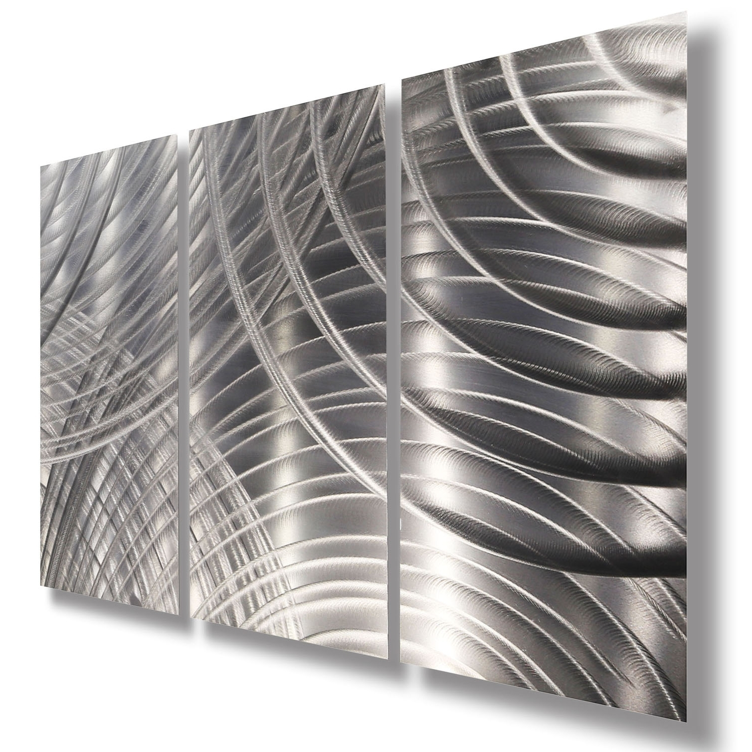 Black Silver Wall Art Within Latest Equinox Ii 3P – All Silver 3 Panel Metal Wall Art Accentjon (View 8 of 15)
