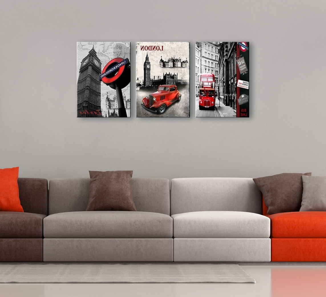 Black White And Red Wall Art Regarding Most Up To Date Cityscape 3 Piece Printed Photography (View 7 of 15)