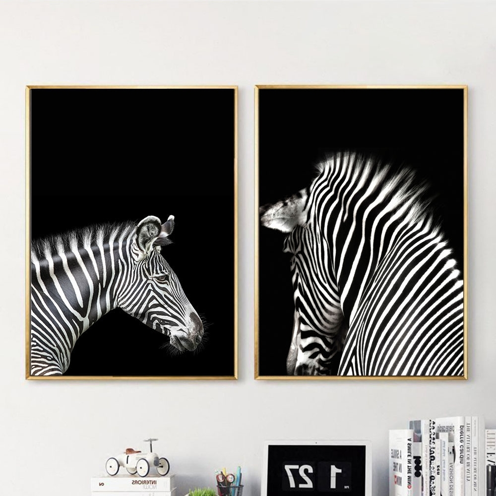 Black White Animal Zebra Wall Art Canvas Posters And Prints Intended For  Latest Zebra Wall Art