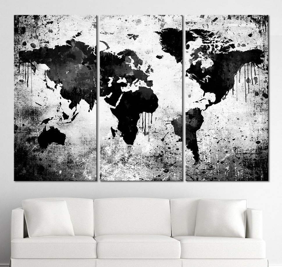 Black White World Map Canvas Print – Contemporary 3 Panel Triptych Intended For Most Popular Gray And White Wall Art (View 3 of 15)
