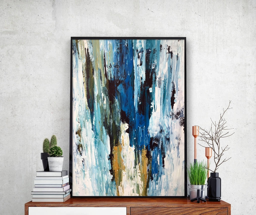 Blue Abstract Wall Art Intended For Newest Abstract 49 Blue Abstract Wall Art Print A4 Or A5 Sizeomar (View 11 of 15)