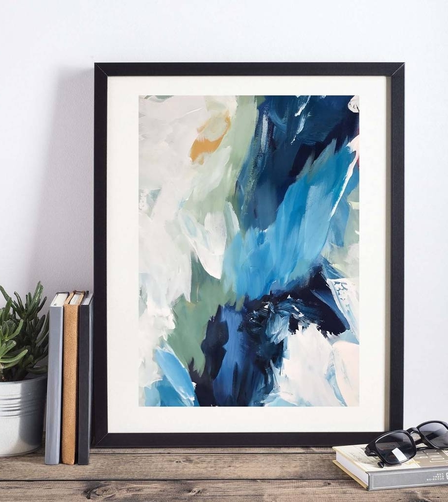 Blue Abstract Wall Art With Regard To Trendy Abstract 70 Blue Abstract Wall Art Print A3 A4 A5 Sizeomar (View 8 of 15)