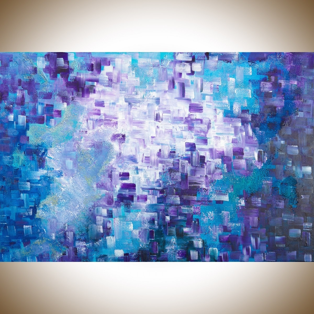"""Blue Abstract Wall Art Within Recent Dissolvingqiqigallery 36""""x24"""" Stretched Canvas Original Large (View 9 of 15)"""