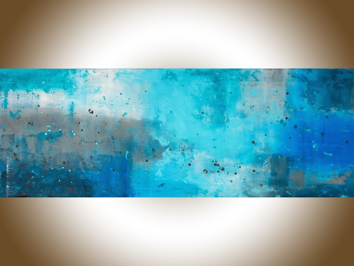 "Blue And Brown Abstract Wall Art In Popular The Mistqiqigallery 70""x24"" Un Stretched Canvas Original (View 1 of 15)"