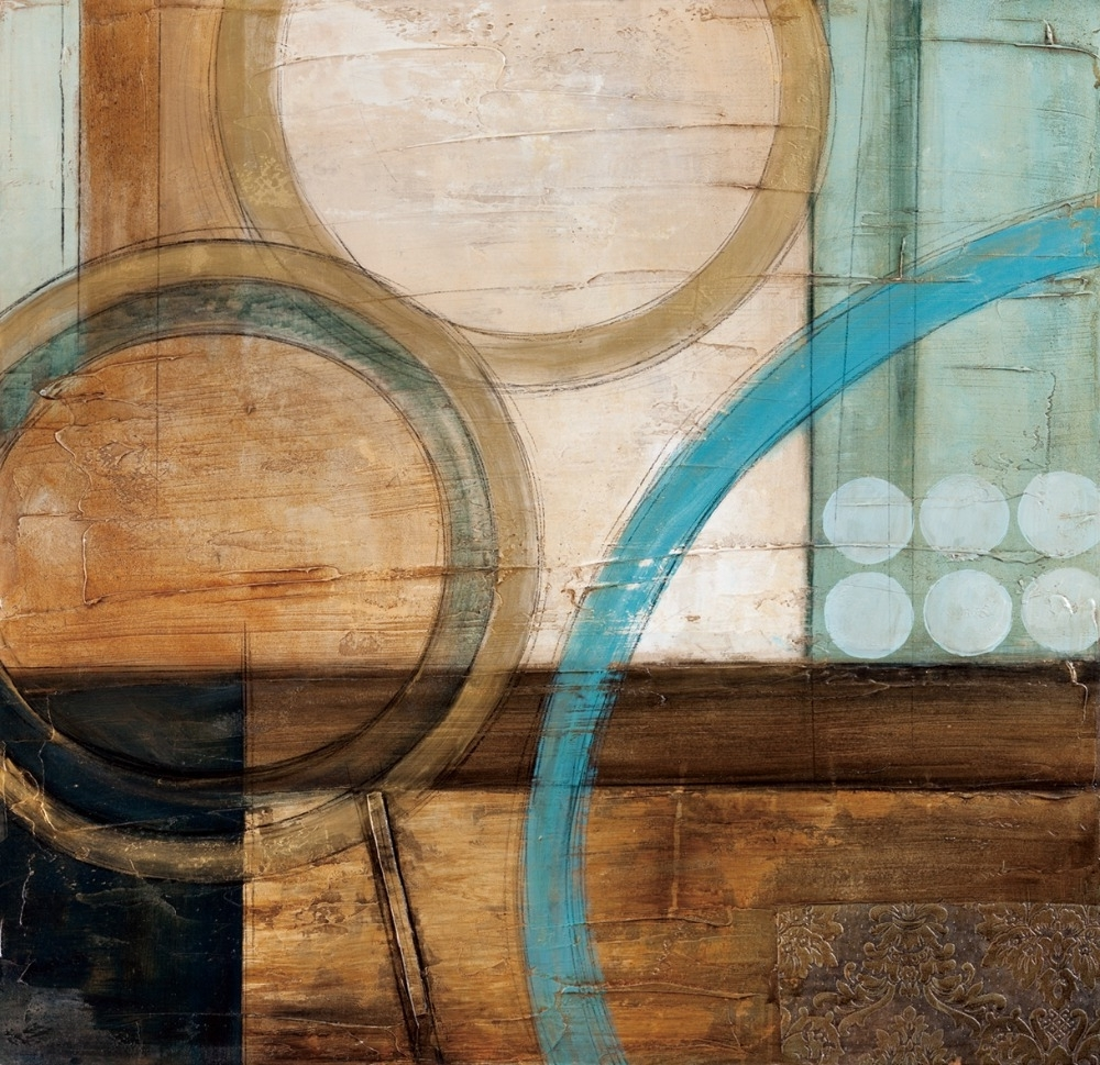 Blue And Brown Circles Modern Abstract Oil Painting Canvas Wall Inside Newest Turquoise And Brown Wall Art (View 2 of 15)