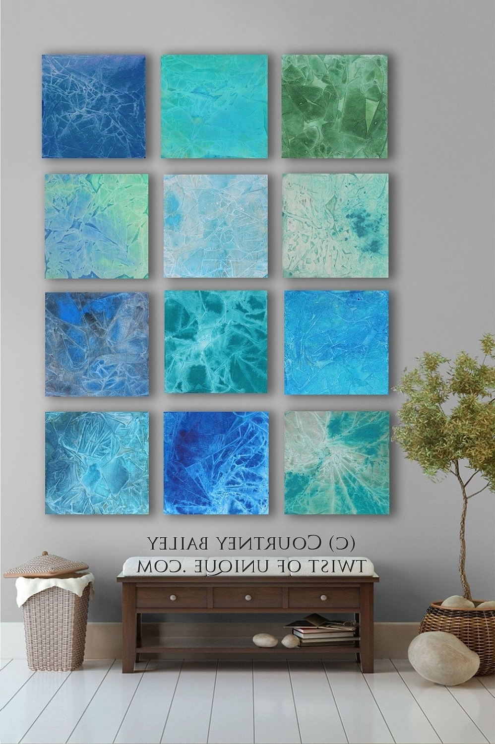 Blue And Green Wall Art With Most Popular Bold Custom Abstract Painting, 12 Square Modern Abstract Wall Art (View 4 of 15)