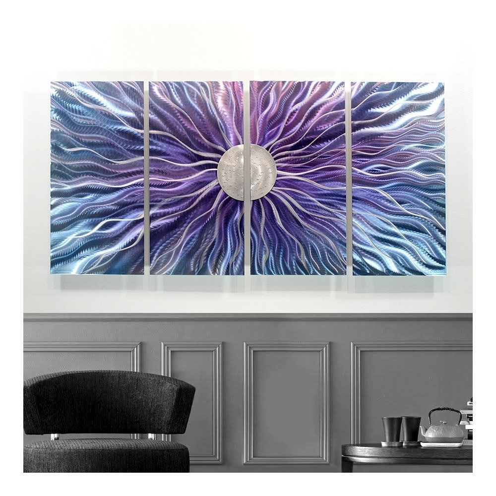 Blue And Silver Wall Art Throughout Most Recently Released Amazon: Large Blue, Purple, And Silver Metal Wall Art Painting (View 3 of 15)
