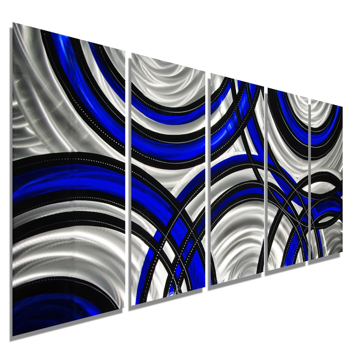 Blue And Silver Wall Art With Well Known Blue Synergy – Blue, Black And Silver Metal Wall Art – 5 Panel (View 4 of 15)