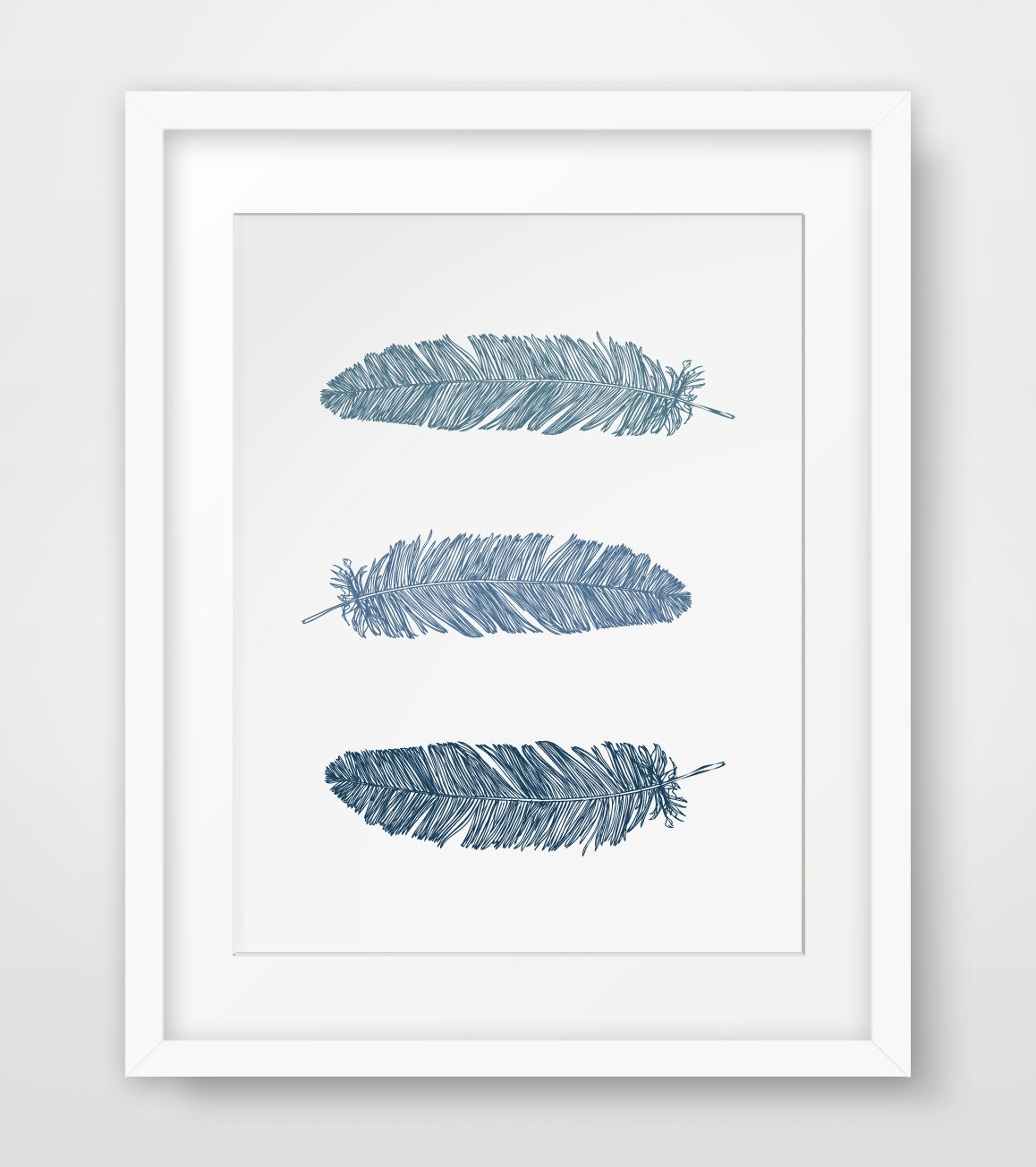 Blue And White Wall Art With Regard To Widely Used Wall Art Designs: Printable Wall Art Navy Blue Feather Print (View 15 of 15)