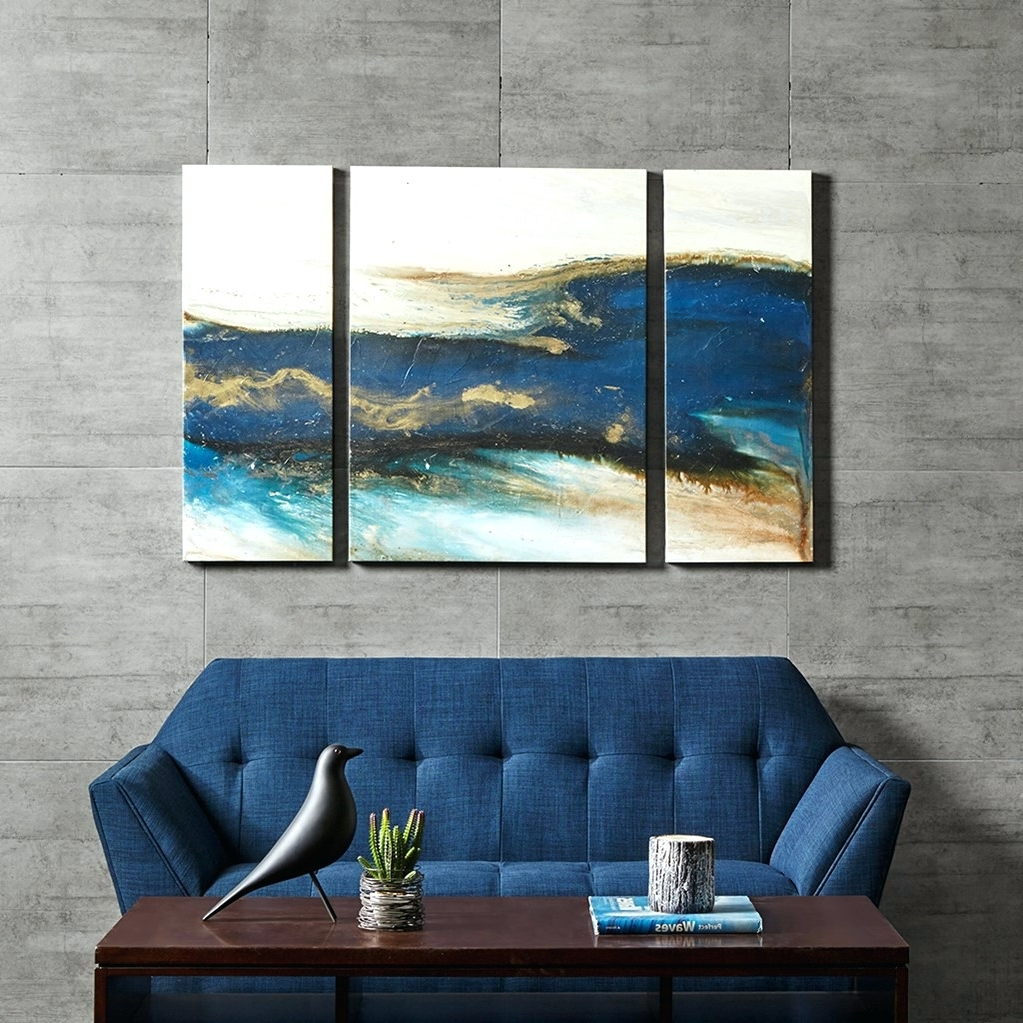 Blue Canvas Abstract Wall Art With Regard To Best And Newest Wall Arts ~ Blue Gray Abstract Wall Art Blue Abstract Canvas Art (View 3 of 15)