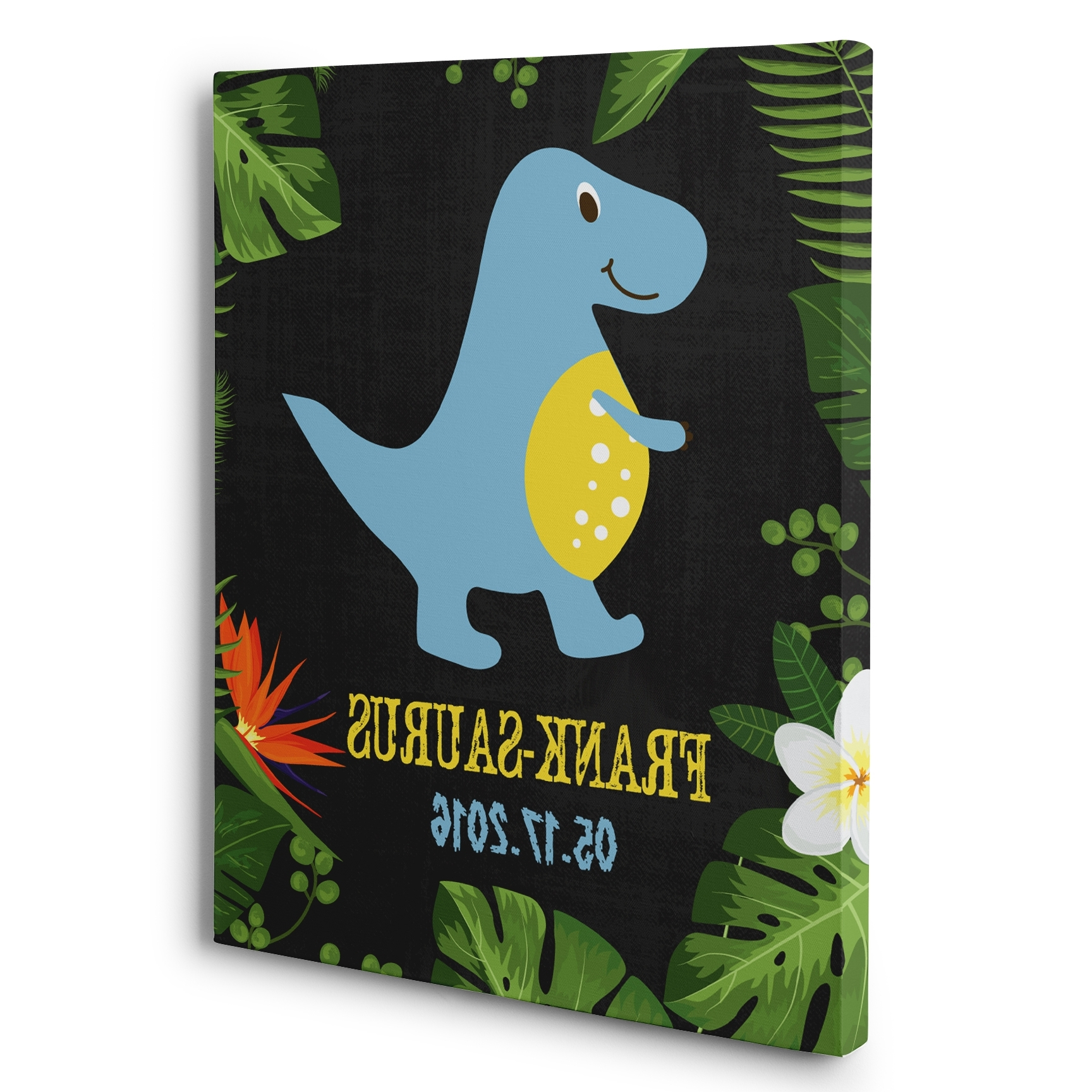 Blue Dinosaur Personalized Nursery Décor Canvas Wall Art – Paper Blast Pertaining To Preferred Dinosaur Canvas Wall Art (View 3 of 15)