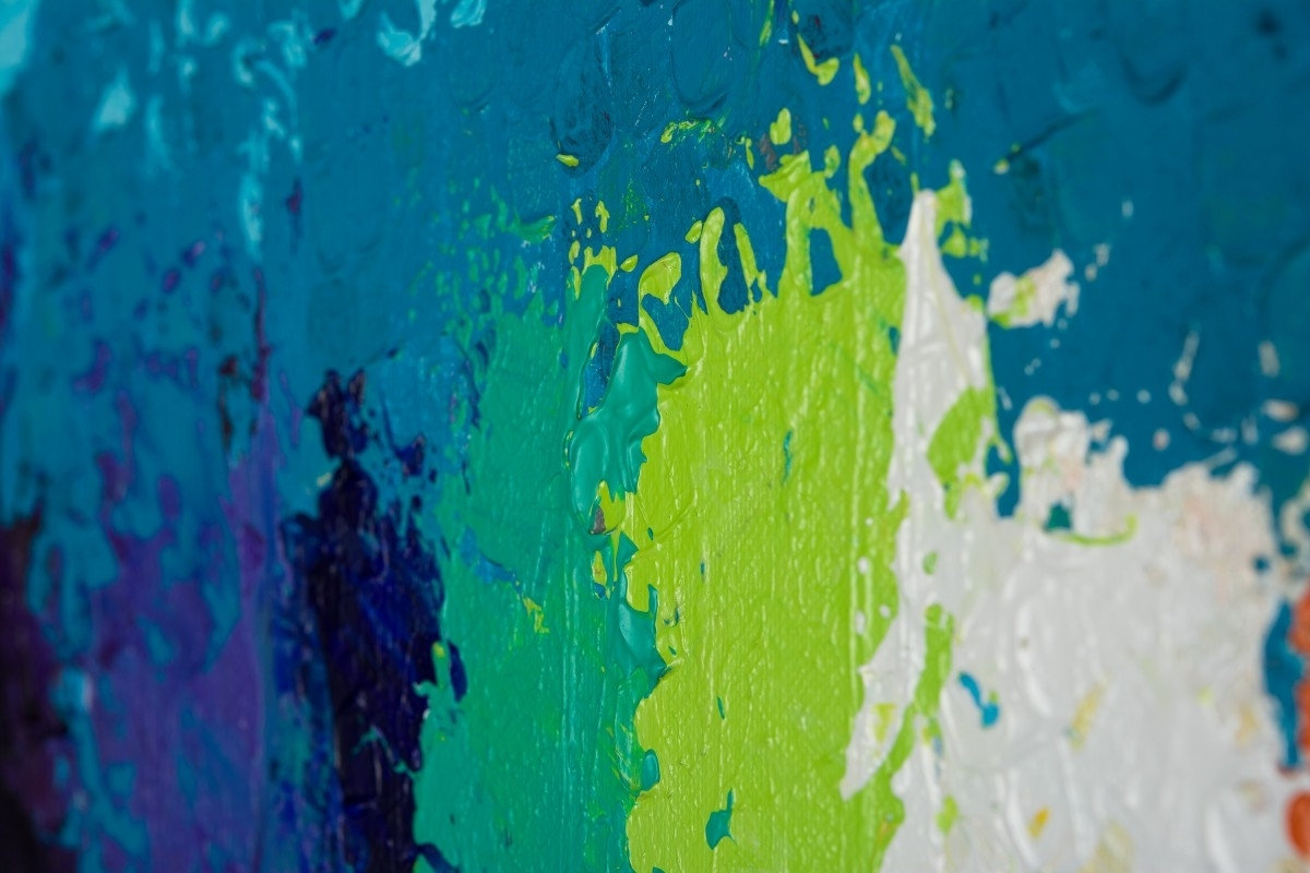 """Blue Green Abstract Wall Art In Most Recently Released Rainbow Flowersqiqigallery 30""""x24"""" Original Modern Abstract (View 12 of 15)"""