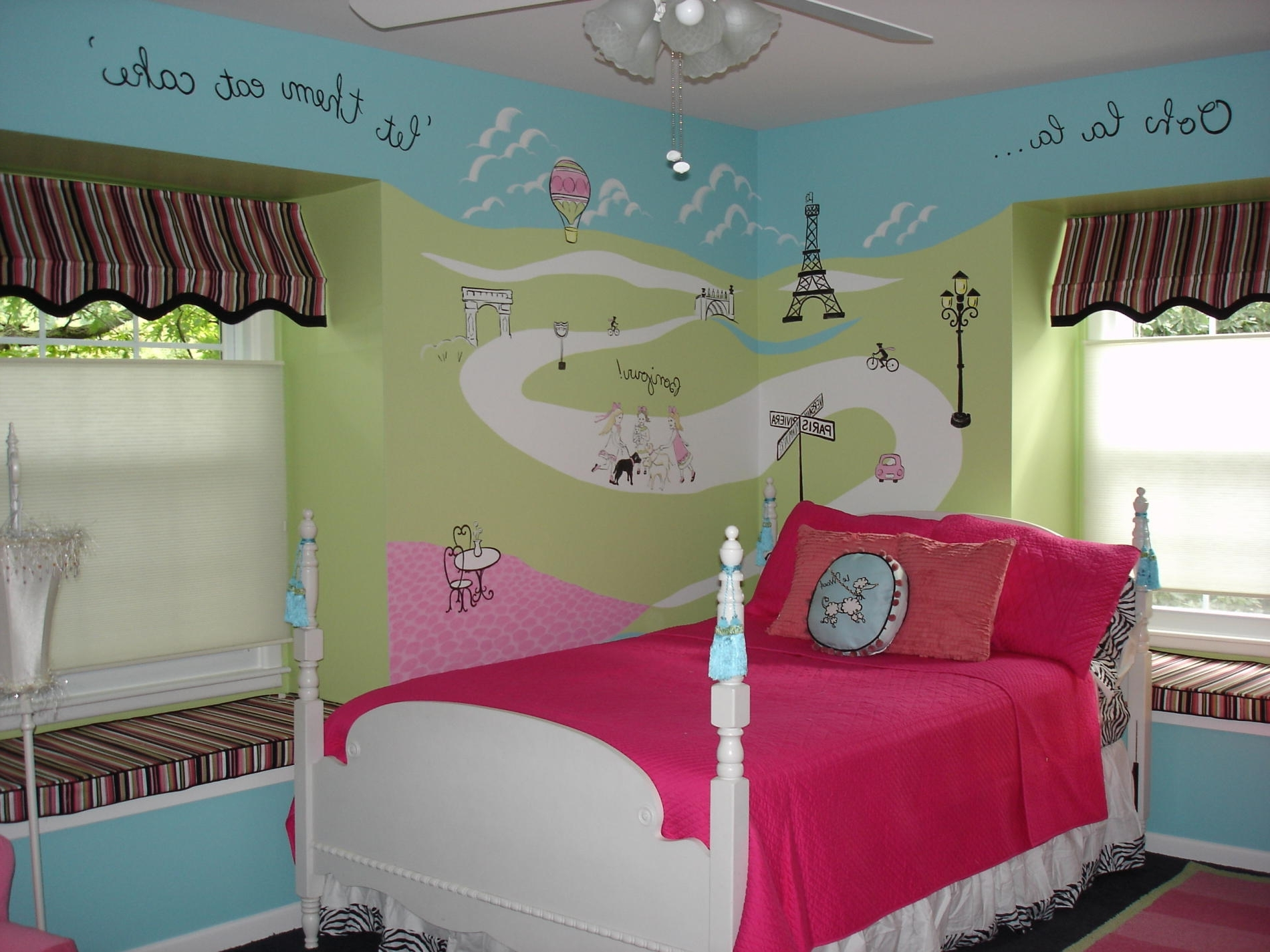 Blue Green Painted Wall Panel For Little Girls Bedroom And White Intended For Famous Paris Theme Wall Art (View 2 of 15)