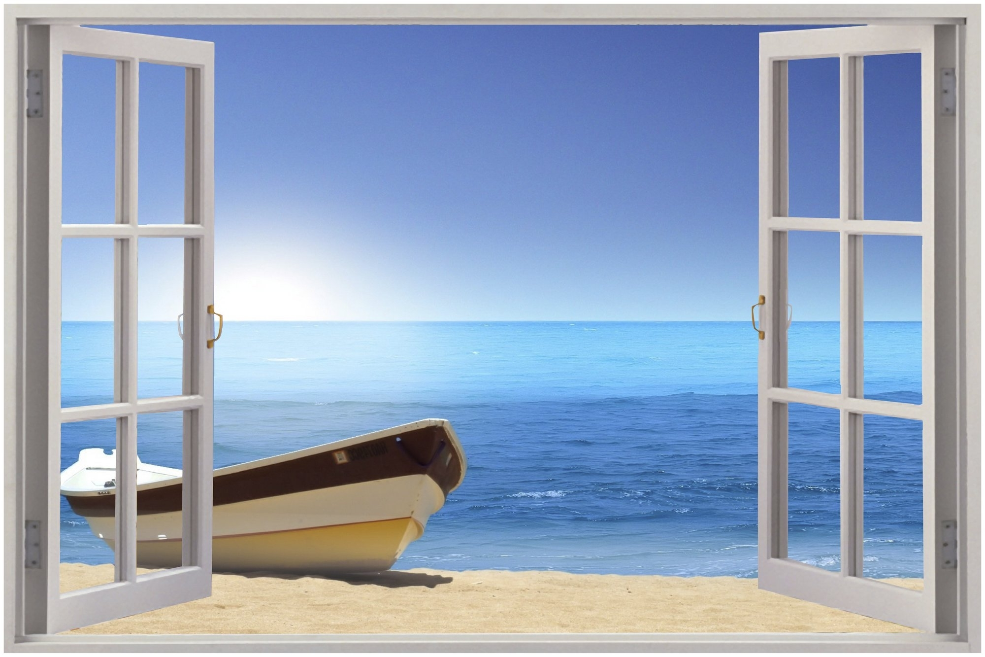 Blue Hd Wall Decal 3d Intended For Recent 3d Wall Art Window (View 8 of 15)