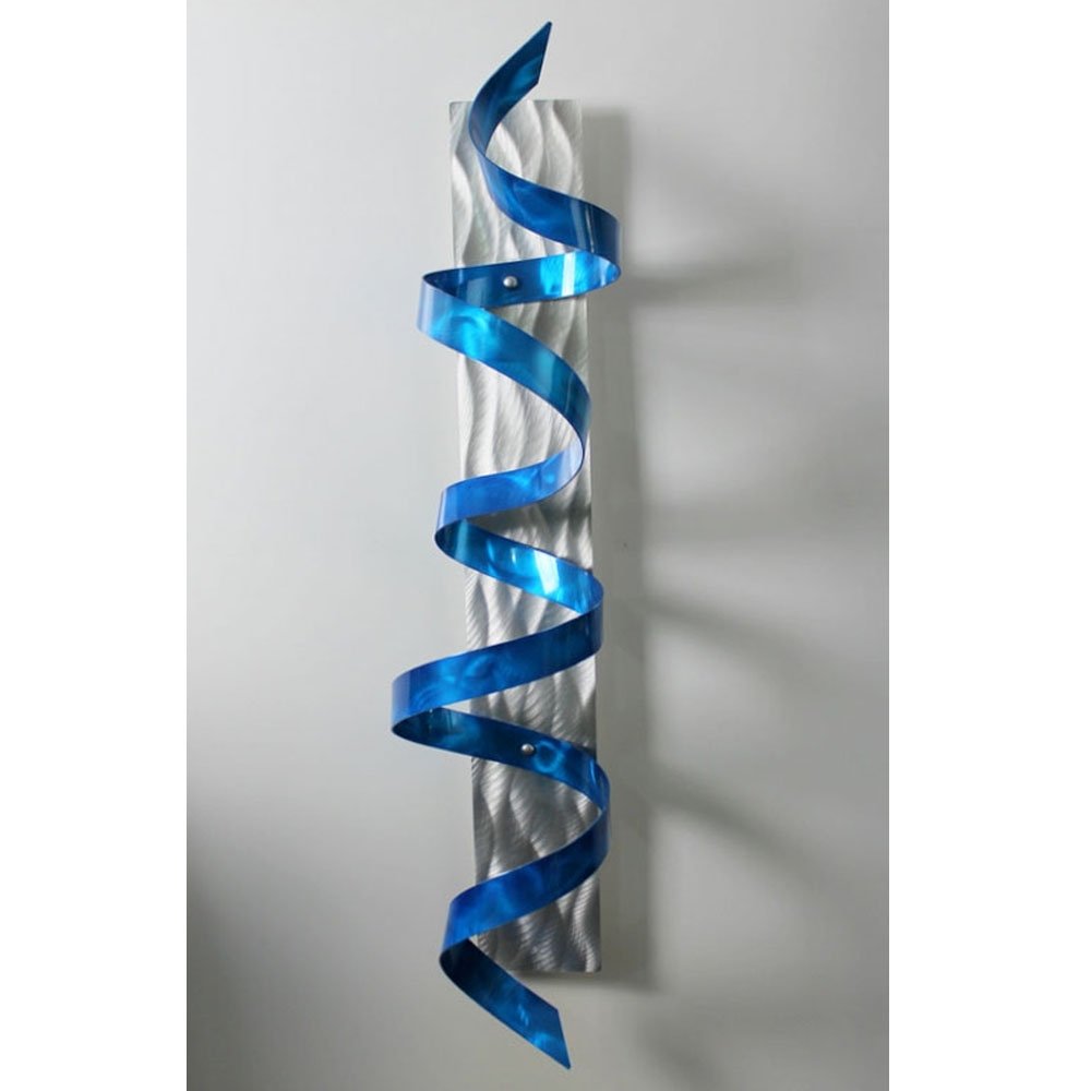 Blue Hurricane – Blue & Silver 3D Metal Wall Art Sculpture Accent Intended For Widely Used Blue And Silver Wall Art (View 5 of 15)