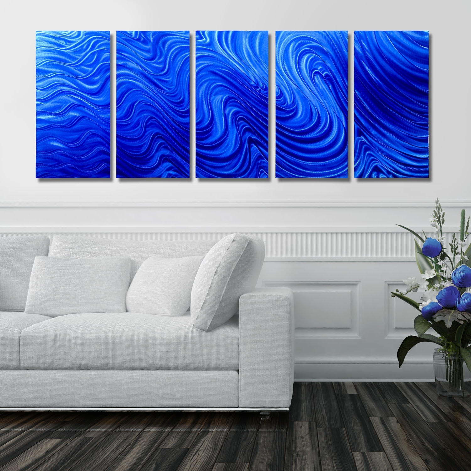 Blue Hypnotic Sands – Blue Four Panel Abstract Metal Wall Art With Widely Used Abstract Metal Wall Art Panels (View 4 of 15)