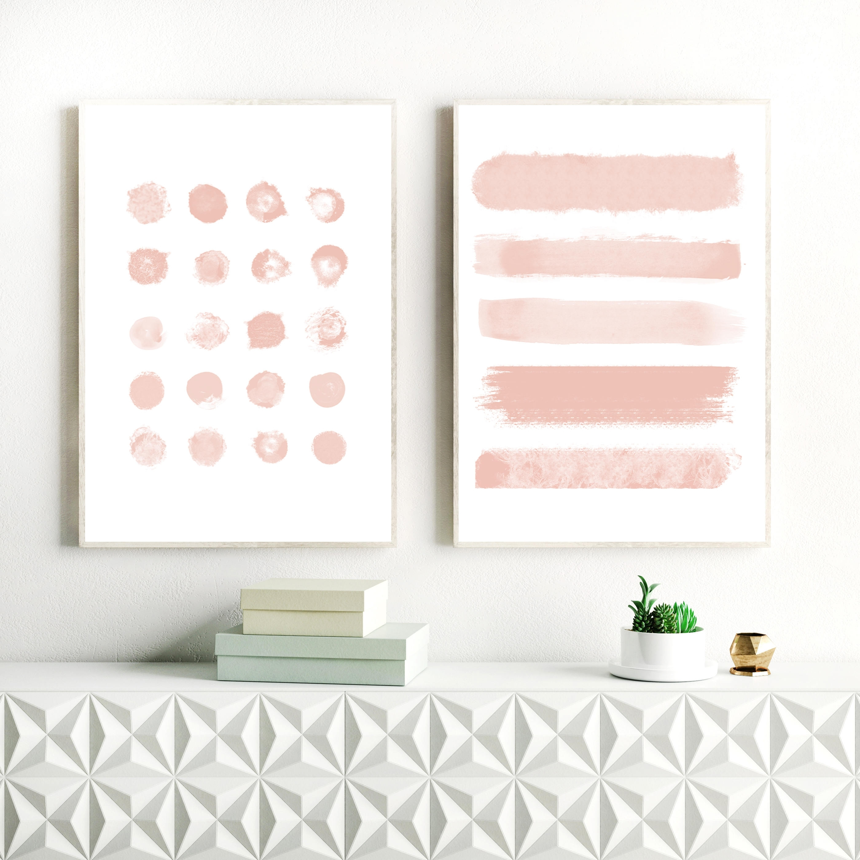 Blush Pink Abstract Art, Brushstrokes, Ink Blot Painting, Nursery Throughout Most Popular Pink Abstract Wall Art (View 5 of 15)