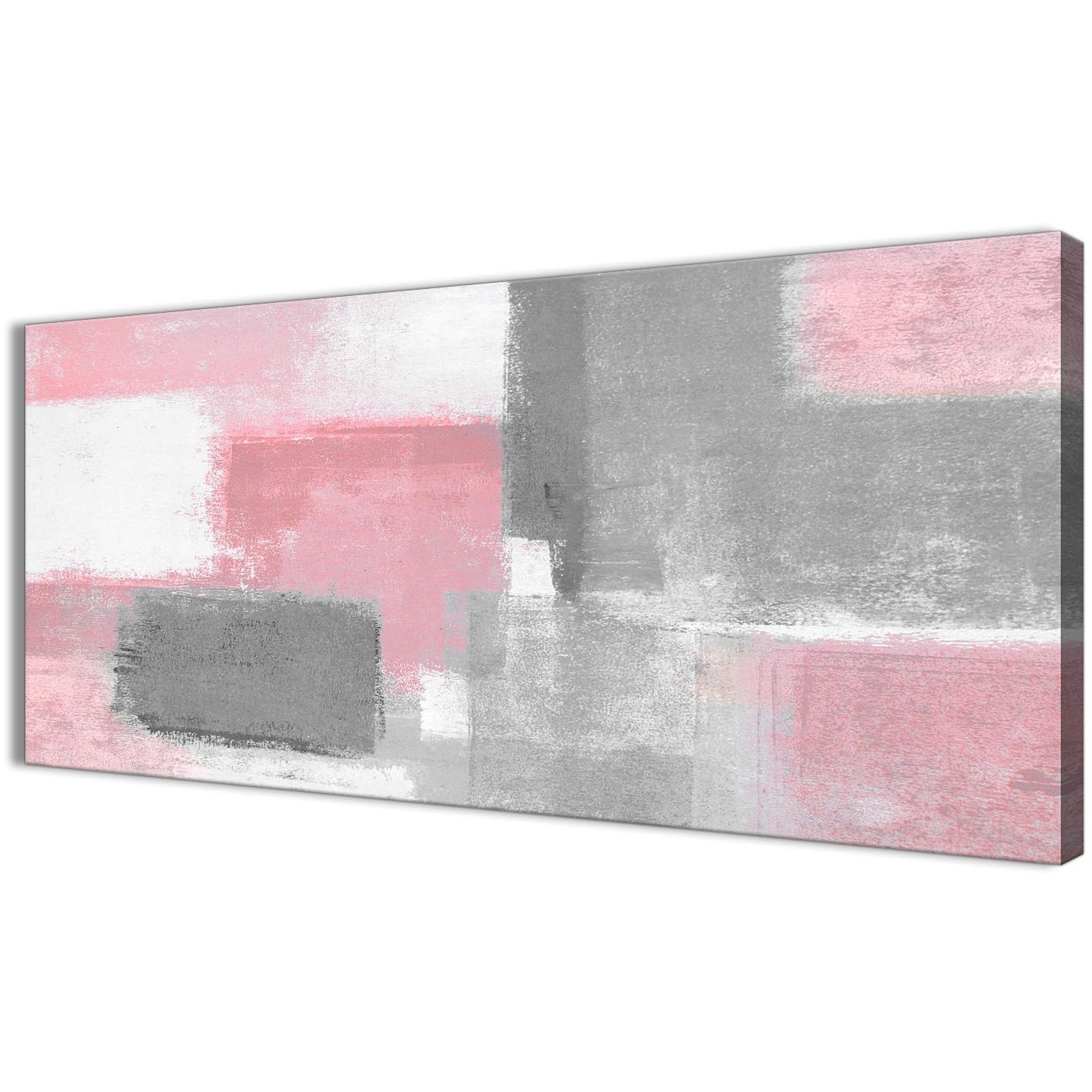 Blush Pink Grey Painting Bedroom Canvas Wall Art Accessories Intended For 2018 Grey Abstract Canvas Wall Art (View 8 of 15)