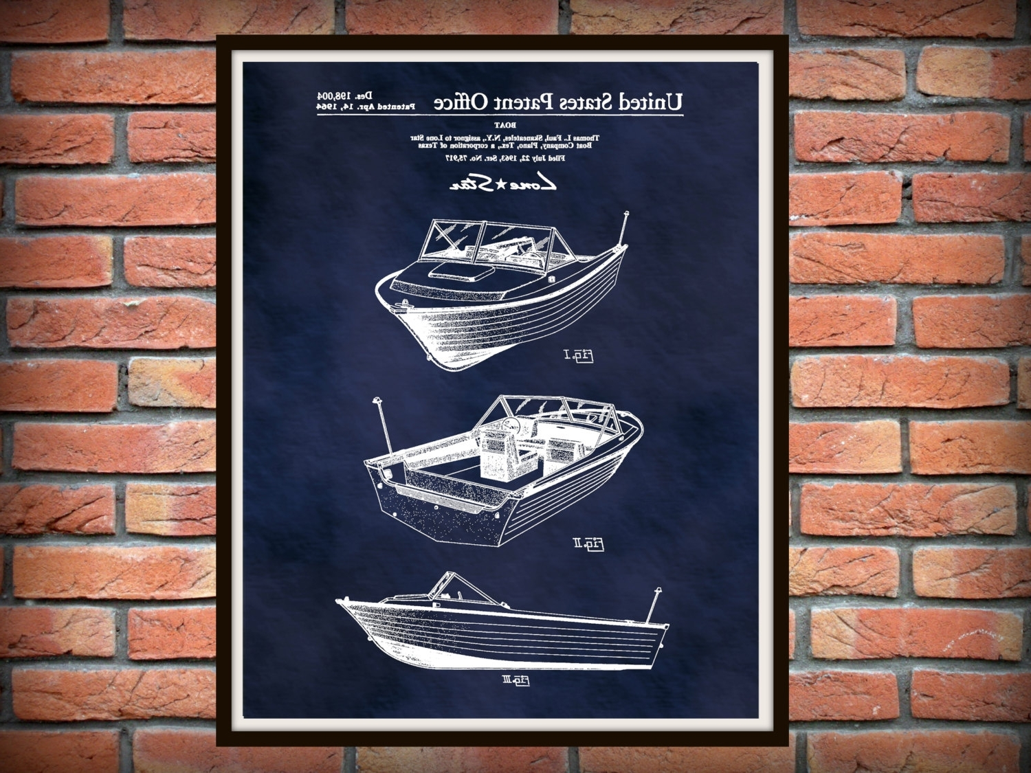 Boat Wall Art Inside Well Known Patent 1964 Lone Star Aluminum Boat – Art Print – Wall Art (View 13 of 15)