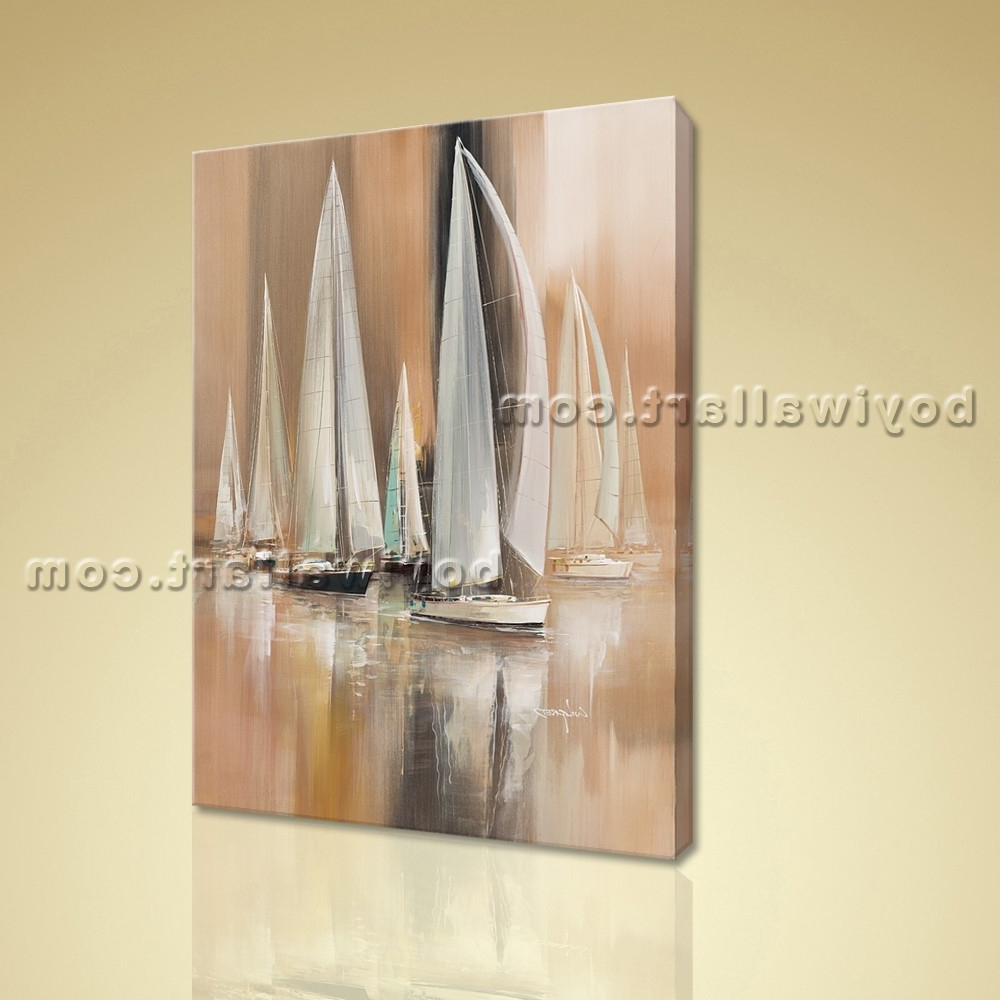 Boat Wall Art Intended For Most Recently Released Painting Seascape Hd Print Canvas Wall Art Sailing Boat Abstract (View 10 of 15)