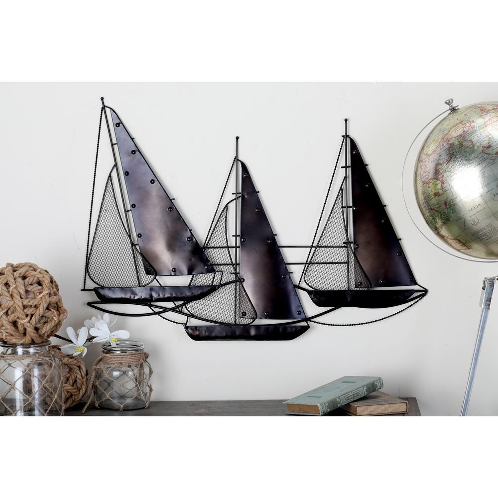 Boat Wall Art Regarding 2018 Nautical Tin Rust Brown Sailing Boat Wall Decor 48641 – The Home Depot (View 11 of 15)