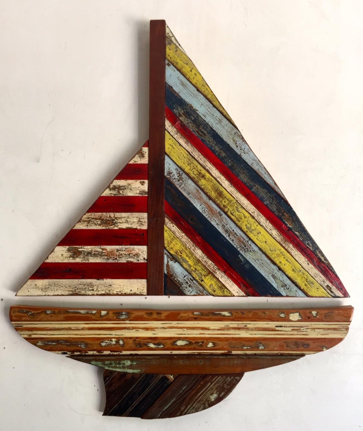 "Boat Wall Art Throughout Most Popular Reclaimed Wood ""sail Boat"" Wall Sculptureridleystallingsart On (View 7 of 15)"