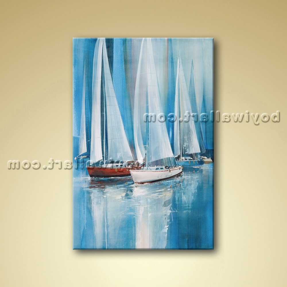 Boat Wall Art With Regard To Most Recently Released Painting Seascape Oil Canvas Wall Art Sailing Boat Abstract (View 10 of 15)