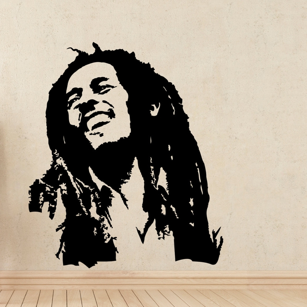 Bob Marley Wall Art Pertaining To Famous Music Wall Decals Bob Marley Reggae Rasta Jamaica Large Vinyl (View 6 of 15)