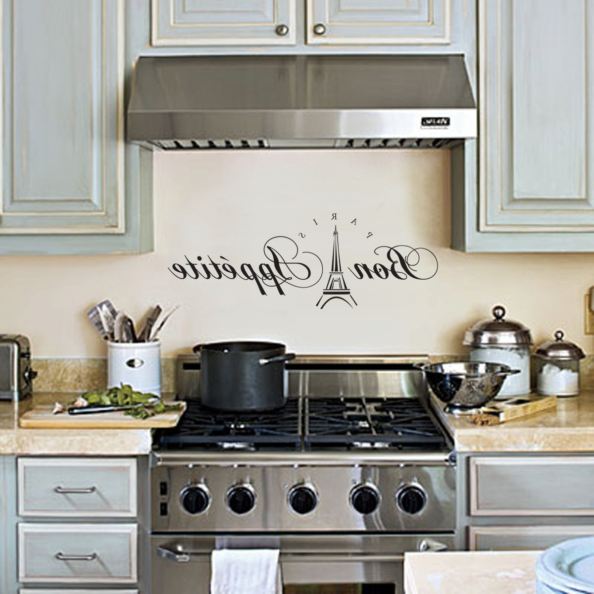 Bon Appetit Wall Decal, Paris Kitchen Wall Decor Wall Art Wall With Regard To Best And Newest Paris Themed Wall Art (View 12 of 15)