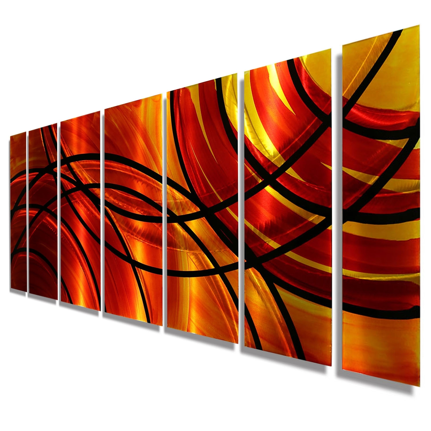 Boundfire – Red & Orange Modern Metal Wall Artjon Allen Throughout Latest Abstract Orange Wall Art (View 7 of 15)