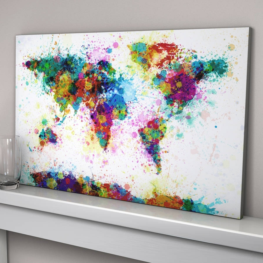 Brisbane Abstract Wall Art In Newest Home Decor: Alluring Canvas Artwork Combine With Paint Splashes (View 9 of 15)