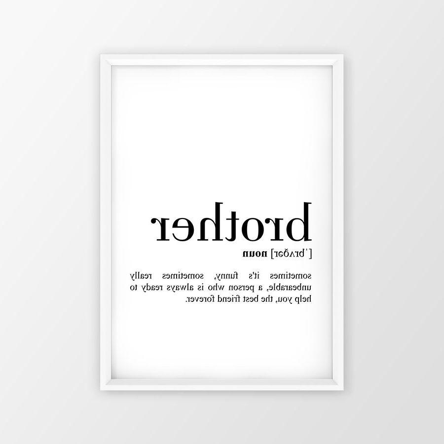 Brother Definition Print, Brother Printable Poster, Brother Quote For Well Liked Brother Definition Wall Art (View 3 of 15)