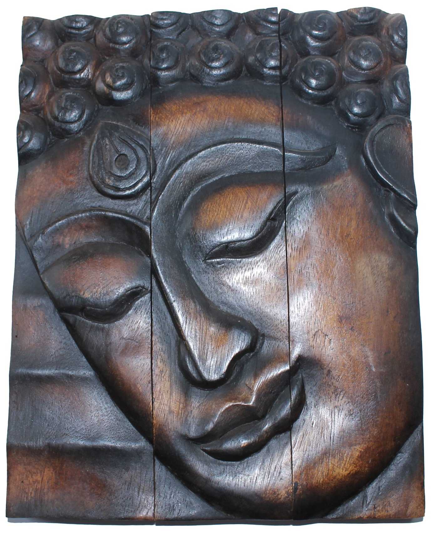 Buddha Wooden Wall Art Inside Latest Hand Carved Wooden Thai Buddha Face Wall Art Plaque Hanging (View 3 of 15)