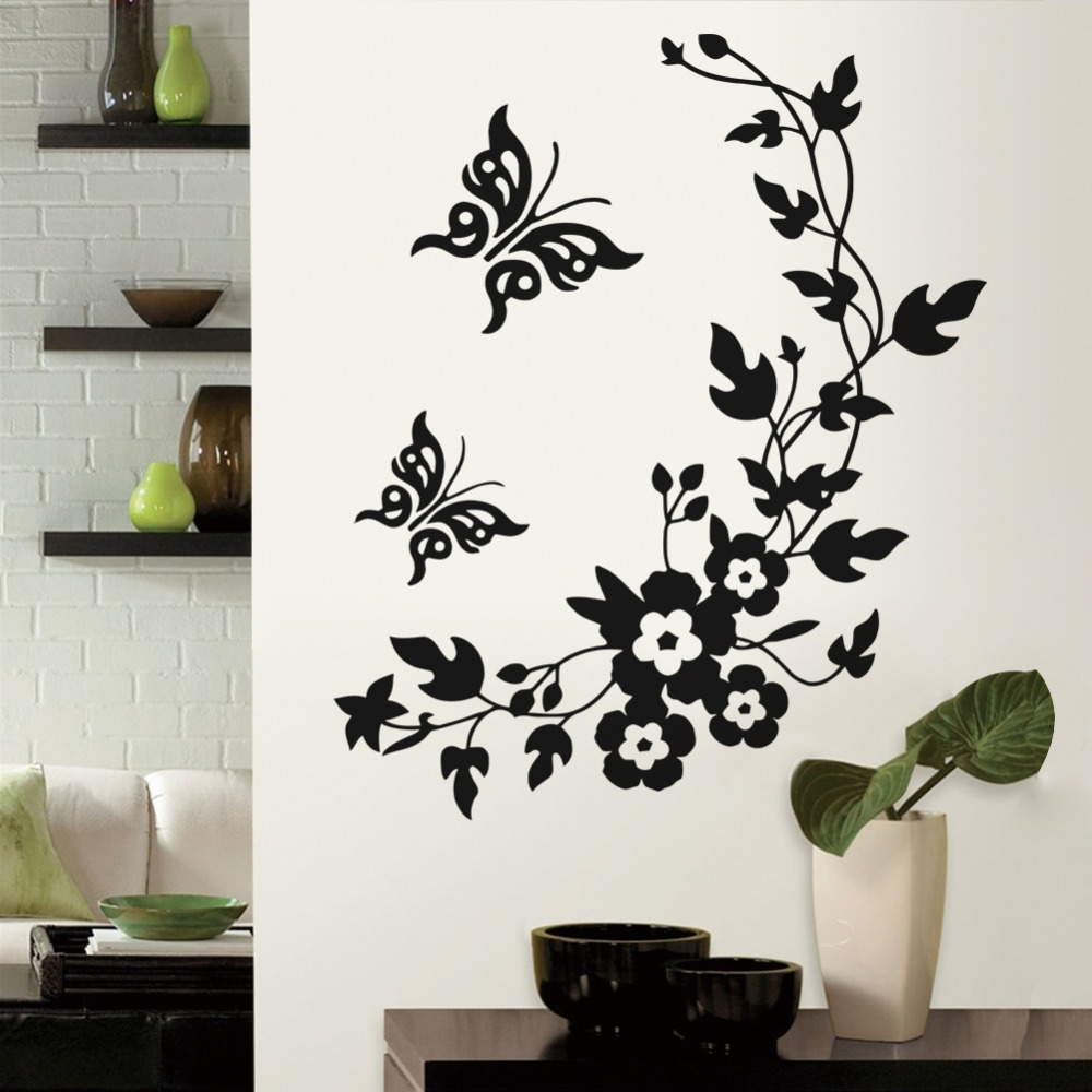 Butterflies Wall Art Stickers Inside Widely Used Removable Vinyl 3d Wall Sticker Mural Decal Art Flowers And Vine (View 15 of 15)