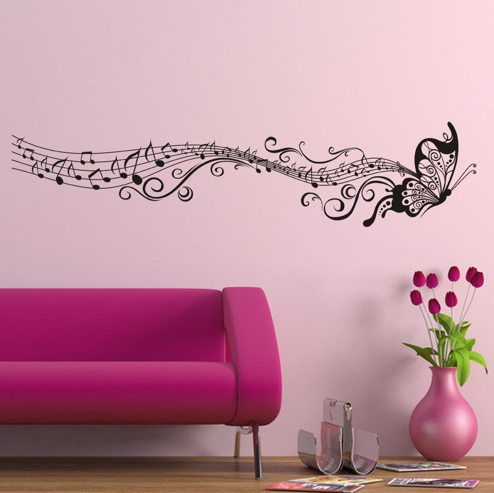 Butterflies Wall Art Stickers With Preferred Decorative Music Butterfly Wall Stickers Wall Art Decal (View 5 of 15)