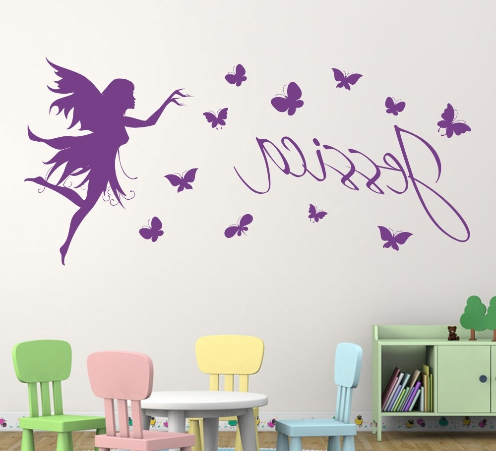 Butterfly Fairy Girls Wall Art Wall Sticker Decorative Butterflies Throughout Most Current Wall Art For Girls (View 2 of 15)