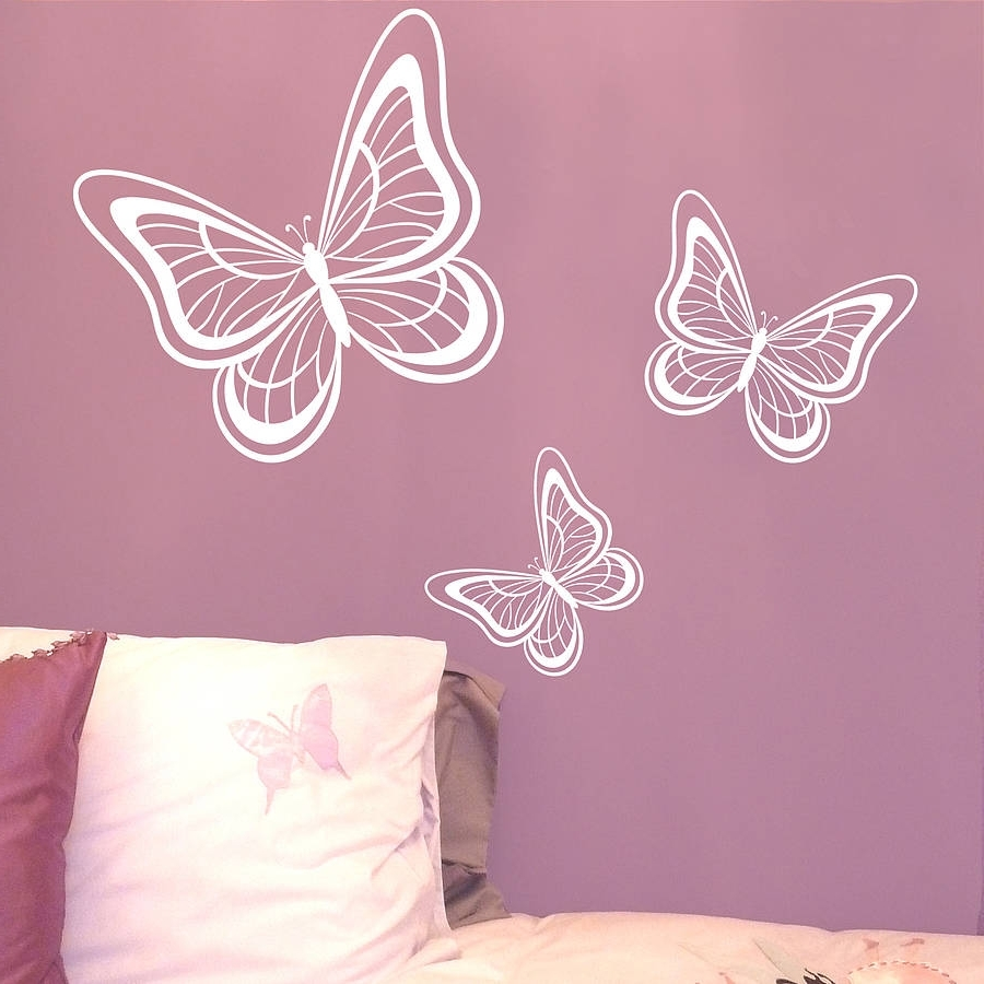 Butterfly Wall Stickers Bird Wall Art Decals Loveabode – Vision Fleet For Most Current Pink Butterfly Wall Art (View 6 of 15)