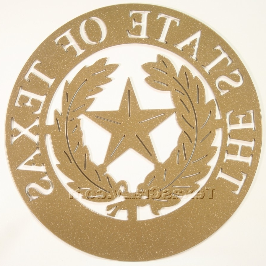 Buy Texas City Metal Art Wall Plaque – Texas Symbol Emblems Throughout Newest Texas Star Wall Art (View 2 of 15)