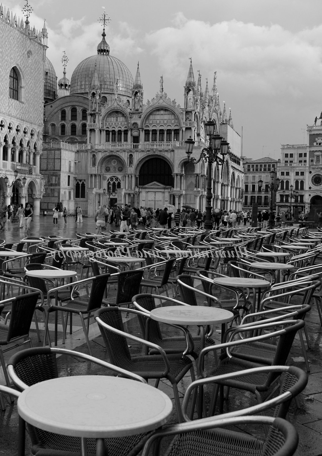 Cafe In St Mark's Square, Venice – 5 X 7 Fine Art Black And White Intended For Recent Italian Travel Wall Art (View 3 of 15)
