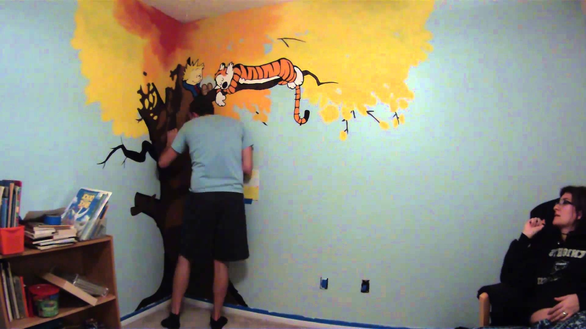 Calvin & Hobbes Nursery Mural Painting Timelapse – Youtube Pertaining To Well Known Calvin And Hobbes Wall Art (View 15 of 15)